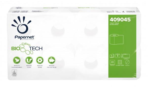 BIOTECH Toilettenpapier 3-lagig / 250 Blatt / 8 Rollen Recycling für Camping 409045