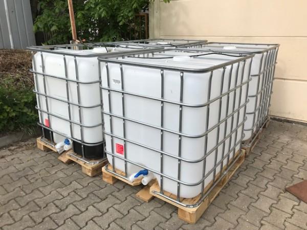 1000l IBC Wassertank GESPÜLT auf Holzpalette