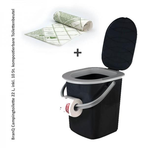 BranQ Reise-WC Campingtoilette 22L +10 Toilettenbeutel